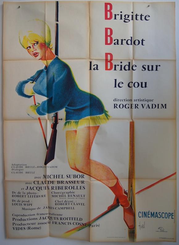 BRIDE SUR LE COU French poster (47×63″) 1963 Brigitte Bardot on ski's