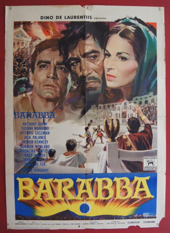 BARABBAS original Italian movie poster Anthony Quinn Silvana Mangano