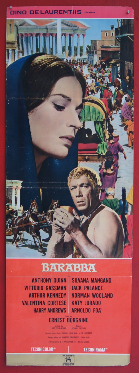 BARABBAS original Italian doorpanel poster Anthony Quinn Silvana Mangano