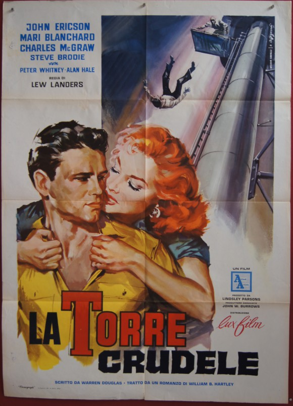 CRUEL TOWER original Italian movie poster John Ericson Mari Blanchard