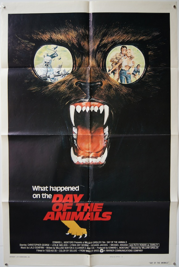 DAY OF THE ANIMALS movie poster 1977 cool climate change shocker