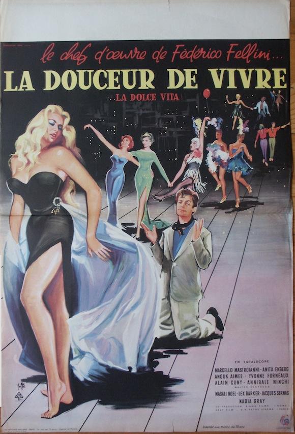 DOLCE VITA  French poster 1960 Fellini Mastroianni Ekberg
