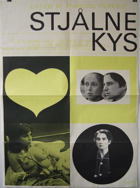 Baisers volés aka Stolen Kisses Danish movie poster Francois Truffaut