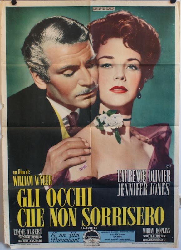 CARRIE  original Italian movie poster Laurence Olivier Jennifer Jones 1952