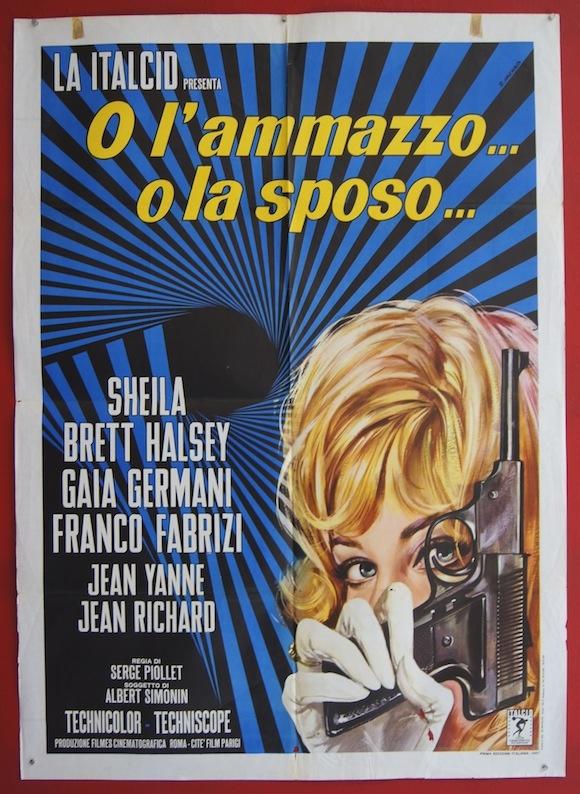 BANG BANG original Italian movie poster SHEILA cool design Renato Casaro 1967