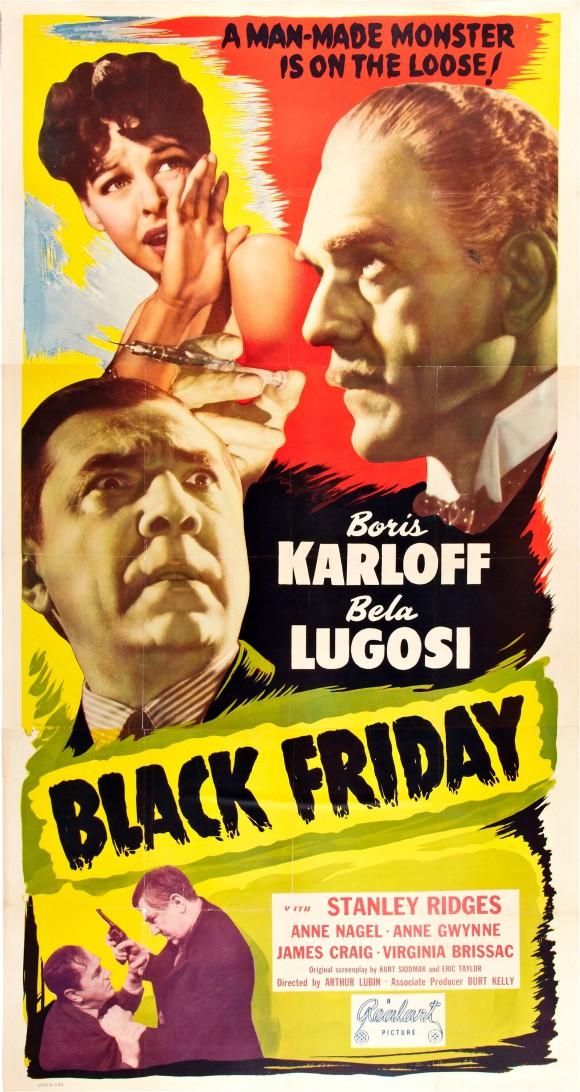 BLACK FRIDAY original movie poster BELA LUGOSI BORIS KARLOFF three-sheet LINEN 1948