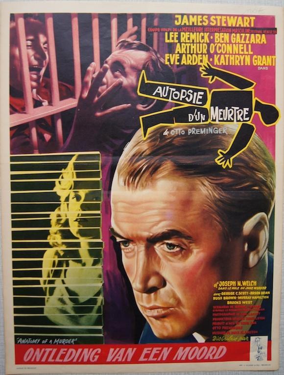 ANATOMY OF A MURDER vintage Belgian poster JAMES STEWART 1959