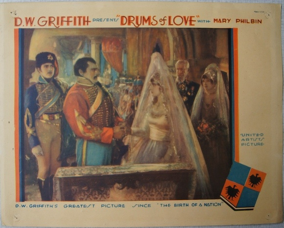 DRUMS OF LOVE original lobby card D.W. GRIFFITH 1928