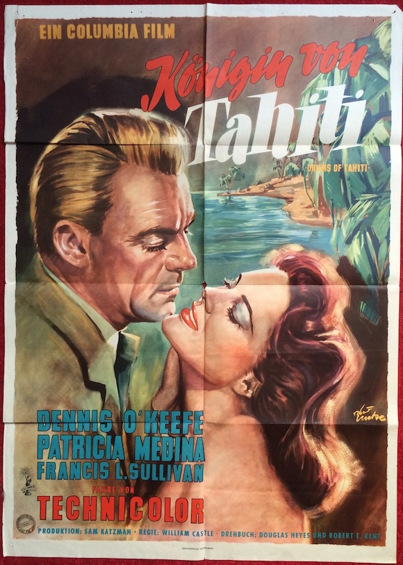 DRUMS OF TAHITI original German movie poster PATRICIA MEDINA DENNIS O'KEEFE