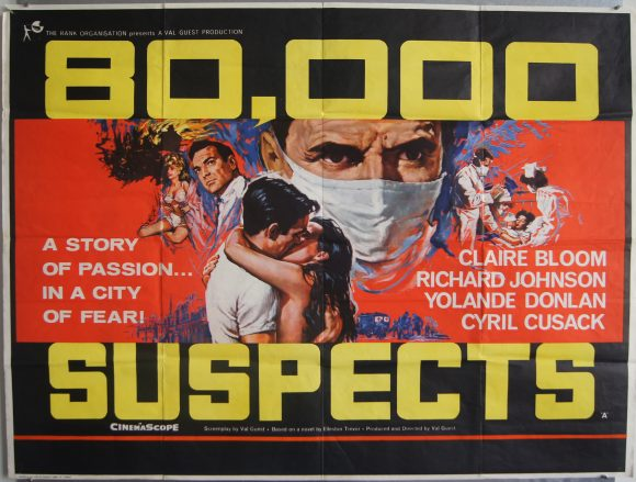 80,000 SUSPECTS original BRITISH movie poster CLAIRE BLOOM