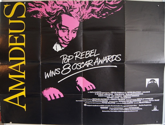 AMADEUS original BRITISH movie poster Oscar style TOM HULCE
