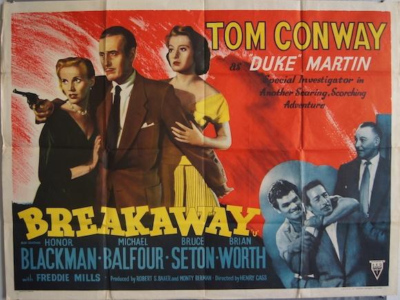 BREAKAWAY original BRITISH movie poster TOM CONWAY HONOR BLACKMAN 1955
