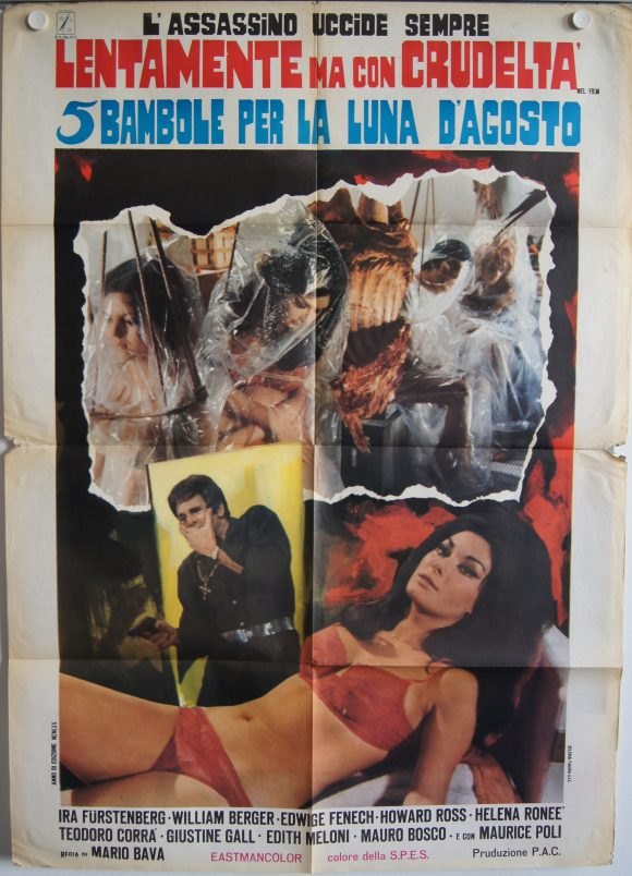 5 DOLLS FOR AN AUGUST MOON rare Italian movie poster MARIO BAVA