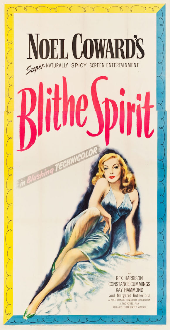 BLITHE SPIRIT original threesheet movie poster NOEL COWARD KAY HAMMOND 1945