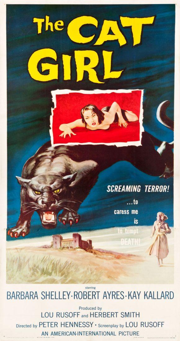 CAT GIRL original threesheet movie poster BARBARA SHELLEY 1957