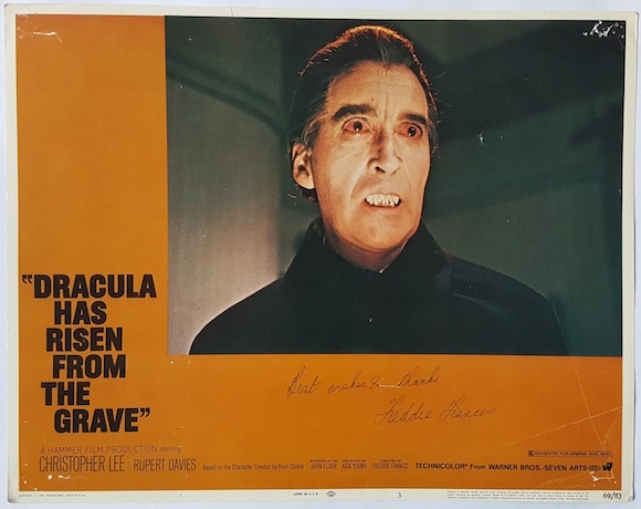 DRACULA HAS RISEN FROM THE GRAVE lobby card CHRISTOPHER LEE 1968 signed by director FREDDIE FRANCIS