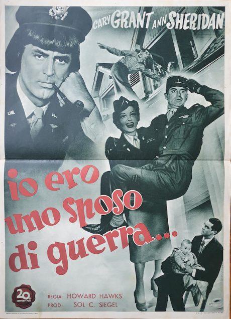 Cary Grant In Drag I WAS A MALE WAR BRIDE Italian fotobusta, 1949